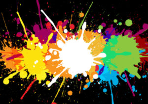 abstract colorful banner with paint stains and splatters on a black background